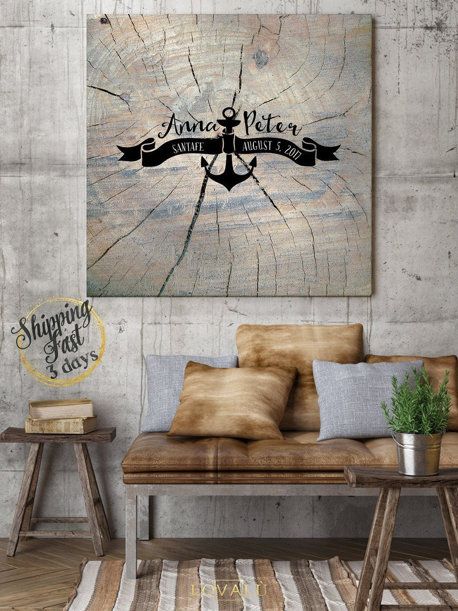 Nautical wedding guest book with anchor. Nautical guest book idea, Wood wedding guest sign in, High quality wood graphics printed - LovaluDesign
