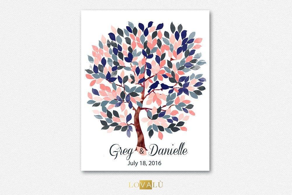 Peach and Navy blue weddings ideas | Alternative Wedding Guest Book tree | Alternative guestbook on canvas | Bridal Shower | Wedding gift - LovaluDesign