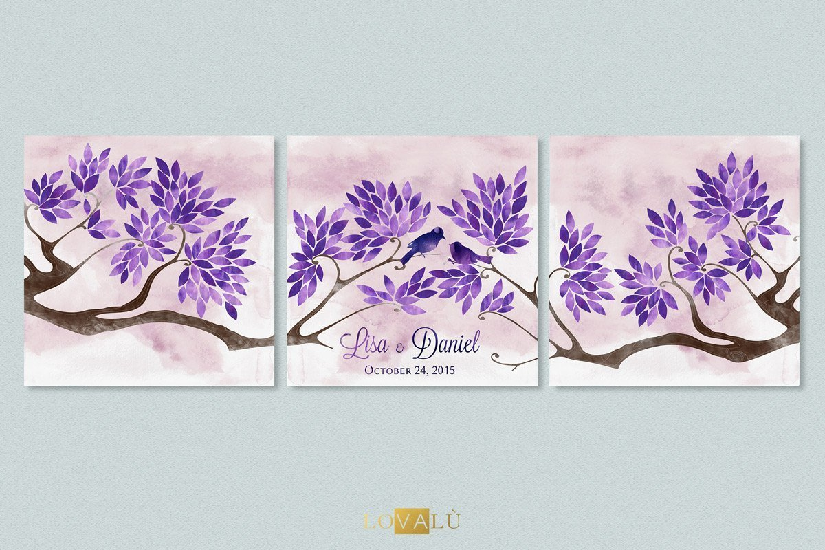 Personalised Wedding Guest Book Purple GuestBook Tree Wedding Wishes Tree Guest Book Print Wedding Gift Wedding Art Print Wedding Poster - LovaluDesign