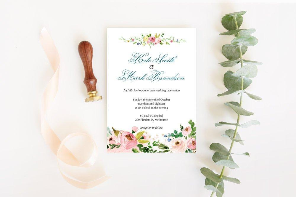 Pink Bouquet Wedding Invitation Template, Printable Wedding Invitation Suite, blooms watercolor Wedding, Calligraphy | Edit in Templett - LovaluDesign