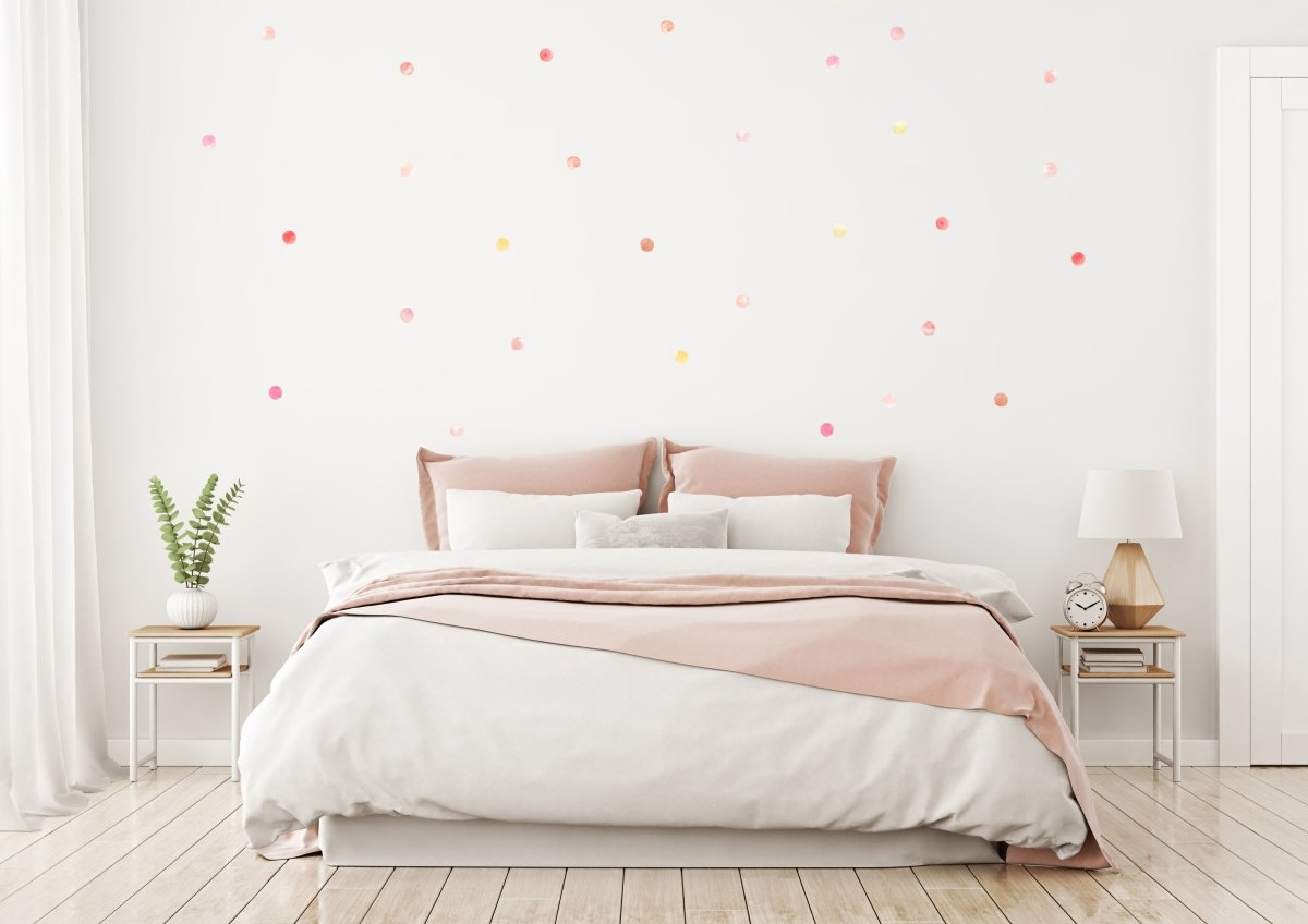 Pink Watercolor Dots Wall Stickers - LovaluDesign