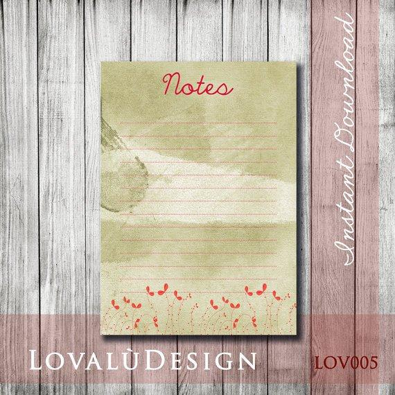 Poppy Printable Planner Notes DIY Instant Download File High Resolution - LovaluDesign