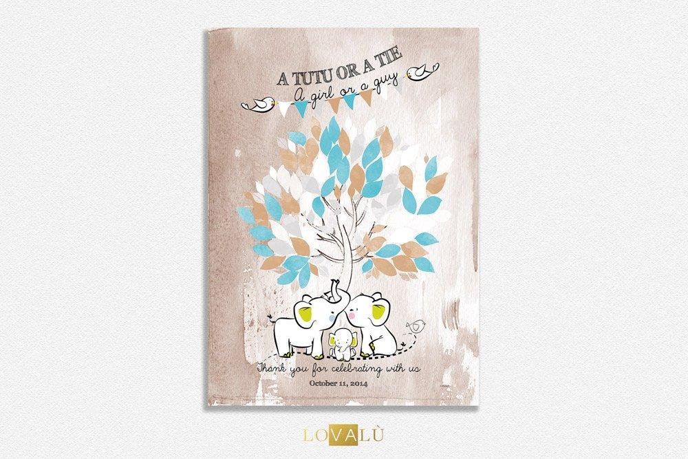 Poster Baby shower tree watercolor Guestbook for nursery whit elephant. Custom your guestbook Choose your colors - LovaluDesign