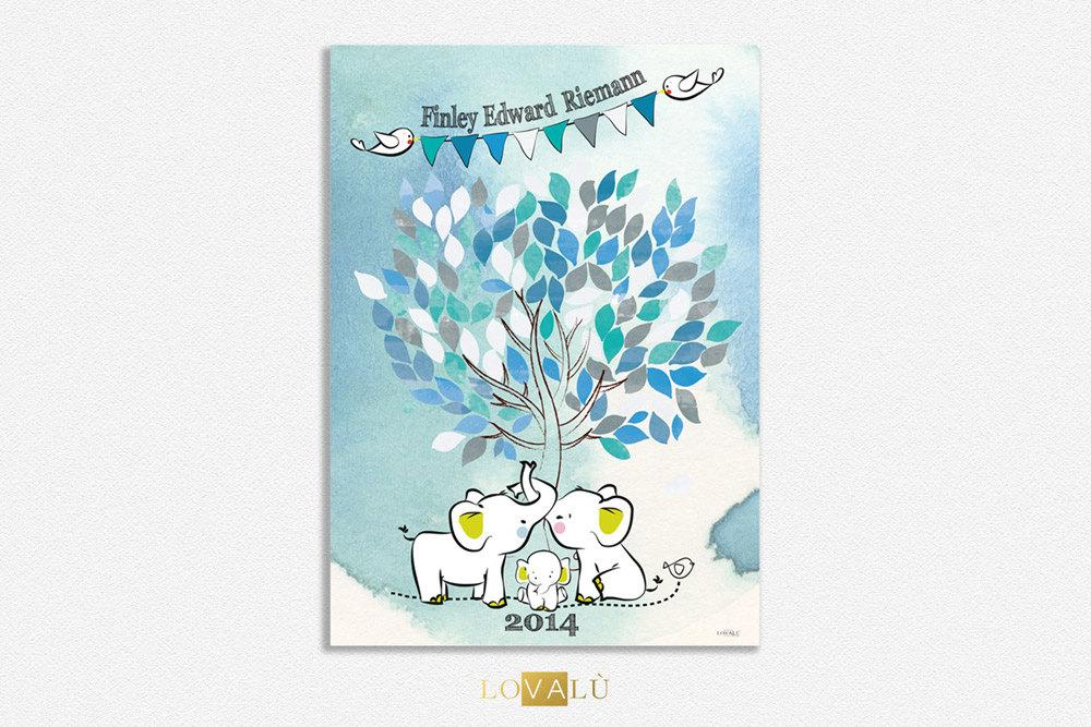 Poster Baby shower tree watercolor Guestbook for nursery with elephant. Custom your guestbook Choose your colors - LovaluDesign