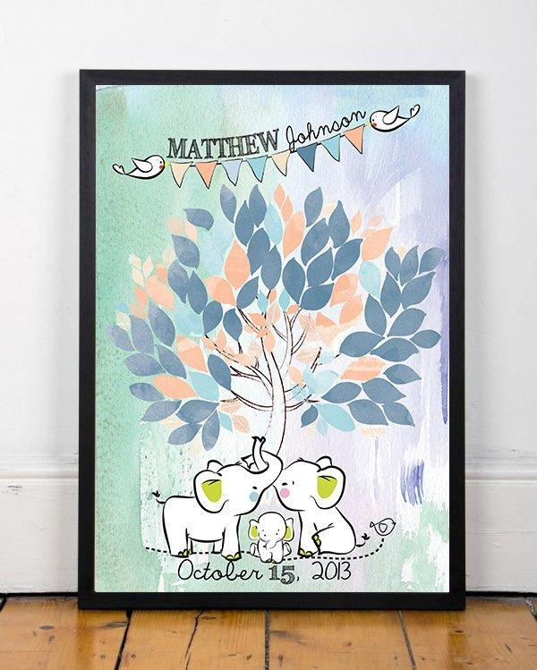 Poster Baby shower tree watercolor Guestbook for nursery with elephants and birds 65 sign on the leaves Custom your tree Choose your colors - LovaluDesign