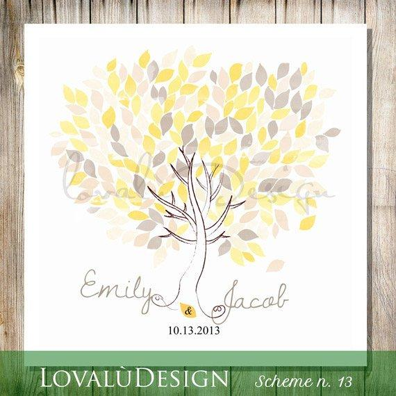 Poster Guest Book Tree Wedding Guestbook Alternative sun yellow 200 Leaves on background white Choose your colours and number leaves - LovaluDesign