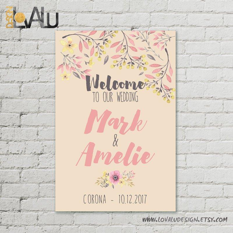 Printable Wedding Welcome Sign Rustic Floreal watercolor Diy wedding Sign Wedding Sign Ceremony sign welcome printable welcome shower sign - LovaluDesign