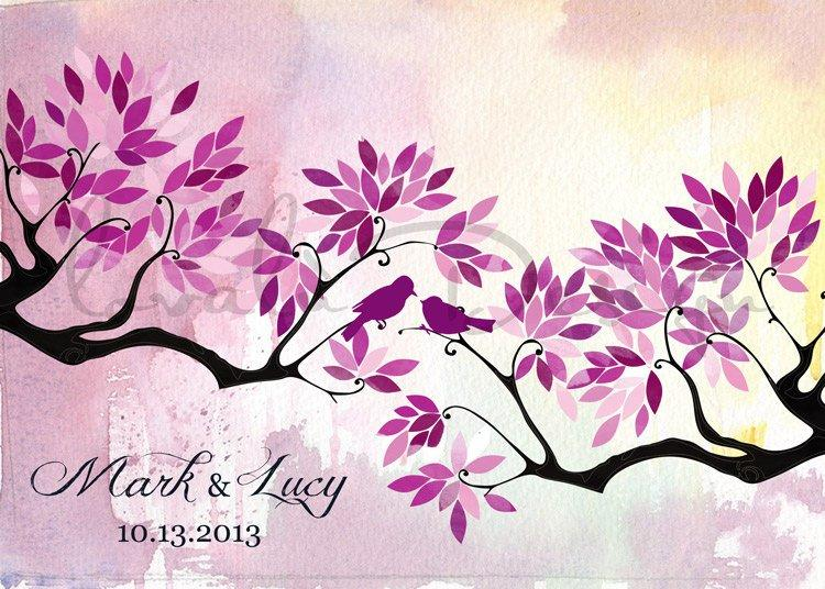 Radiant Orchid Custom Alternative wedding Guestbook tree on canvas with birds in love pink purple leaves Choose your colours - LovaluDesign