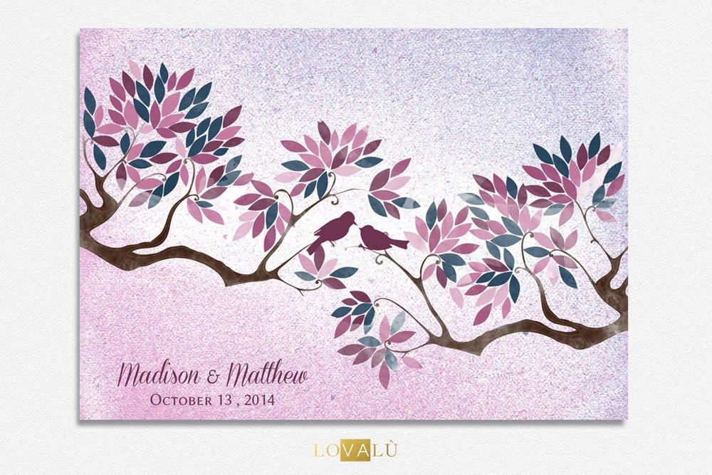 Radiant Orchid Wedding Guest book tree with birds in love watercolor violet pink colour leaves on background shabby Choose your colours - LovaluDesign