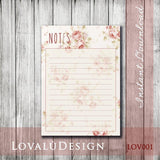 Romantic Floral Printable Planner Notes DIY Instant Download File High Resolution - LovaluDesign
