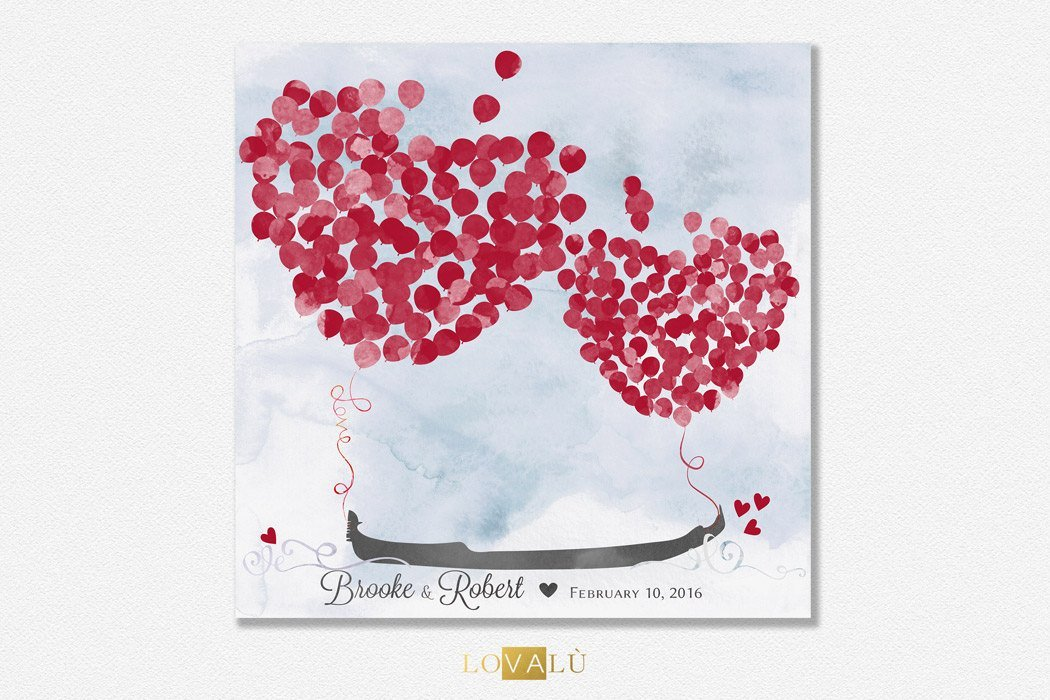 Romantic Wedding guest book with gondola. Custom Wedding Guestbook Alternative with ballons. Wedding Print Guest Book Venice. - LovaluDesign