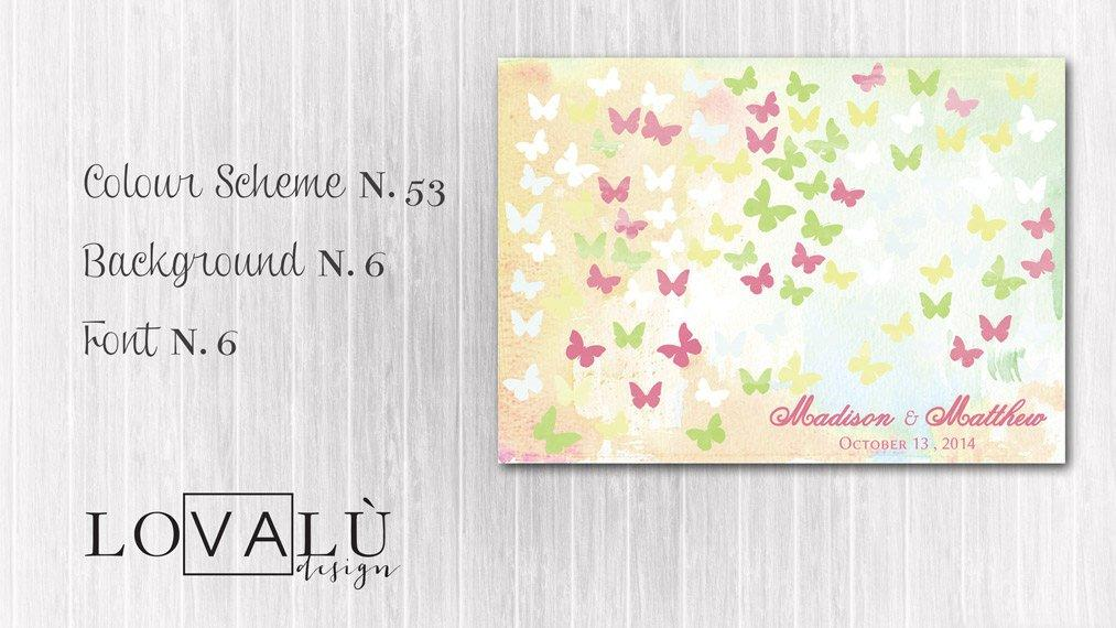 Romantic Wedding Guestbook with butterflies Print canvas 100 signatures Choose your color and number butterflies - LovaluDesign