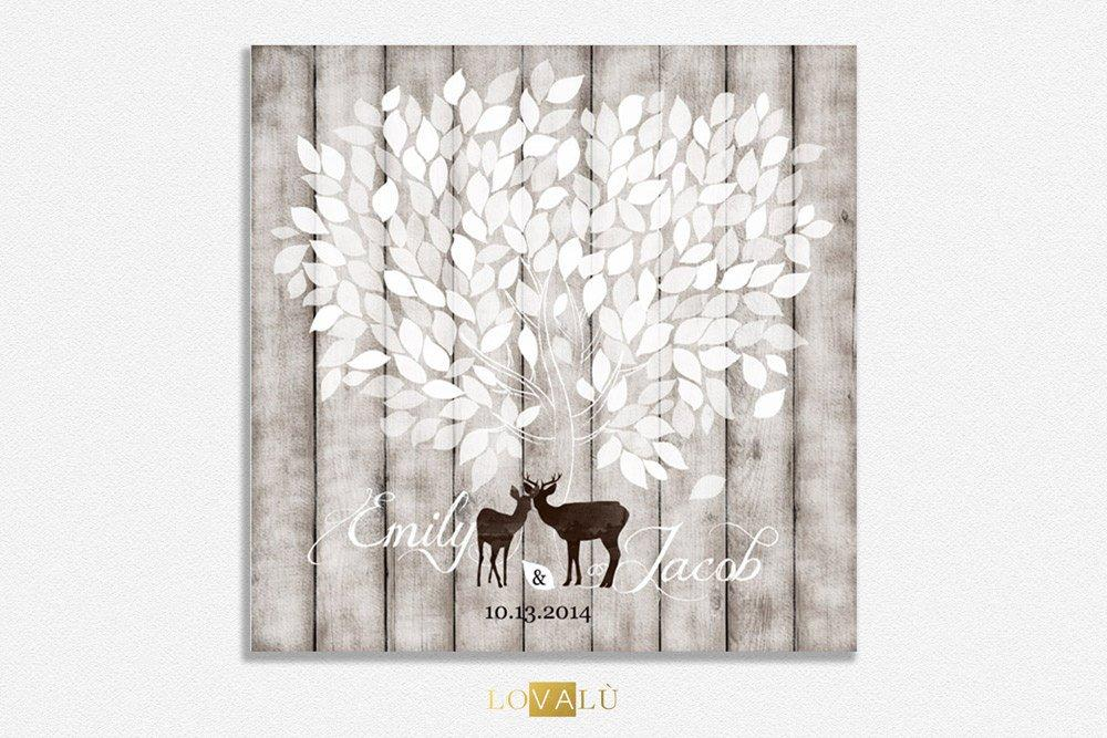 Rustic Guest book ideas tree with Deer, wooden guest book, wood guestbook, Rustic Wedding Guest book canvas, Rustic Wedding Guestbook canvas - LovaluDesign