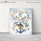 Rustic Nautical wedding guest book ideas Alternative Wedding GuestBook Wedding Anchor watercolor Cobalt light blue gold glitter Navy wedding - LovaluDesign