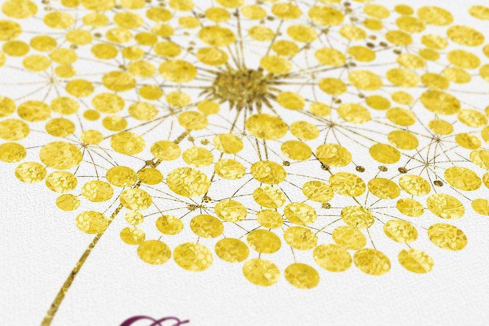 Rustic wedding guest book alternative, dandelion guest book canvas, make a wish guest book sign, rustic wedding guest book ideas gold - LovaluDesign