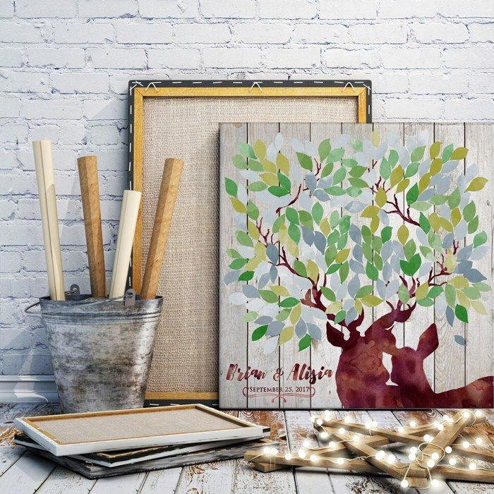 Rustic wedding guest book alternative in green & grey - Wedding Tree Deer guestbook - wood rustic wedding guest book - Wedding in the Woods - LovaluDesign