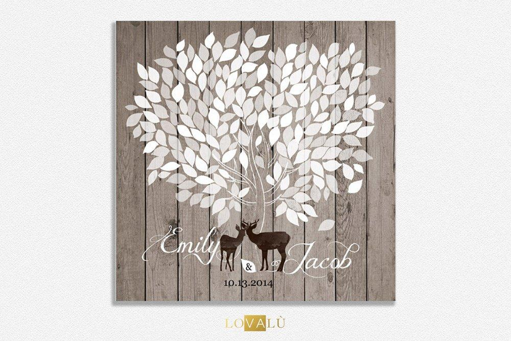 Rustic Wedding guest book, alternative wedding guest book, guest book alternative, deer guest book, stag guest book, antler guest book, tree - LovaluDesign