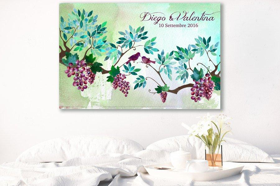 Rustic Wedding Guest Book Grape vine red Alternative Love Birds -Guest Signatures, guest book keep sake gift art Poster size wall decor - LovaluDesign