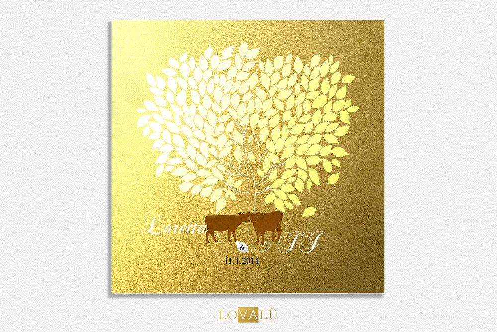 Rustic Wedding guest book with cows Custom Wedding Guestbook Alternative Country Wedding Print Guest Book Winter wedding christmas gold - LovaluDesign