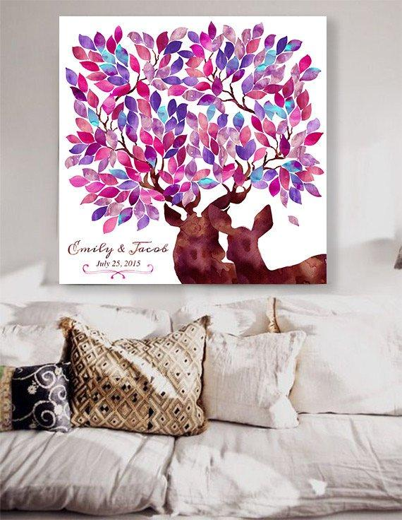 Rustic Wedding guest book with deers Custom Wedding Guestbook Alternative Country Wedding Print Guest Book wedding christmas watercolor pink - LovaluDesign