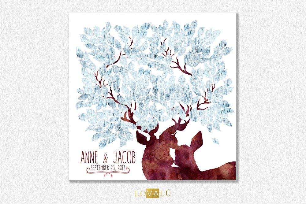 Rustic Wedding guest book with deers in ice effect. Winter wedding theme. 50 - 300 signatures - Alternative GuestBook tree wishes - LovaluDesign