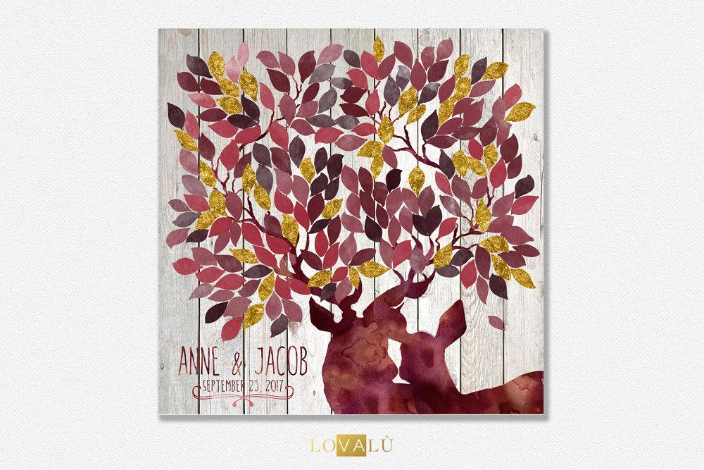 Rustic Wedding guest book with deers in Marsala & Gold. Fall wedding theme. 50 - 300 signatures - Alternative GuestBook tree wishes - LovaluDesign