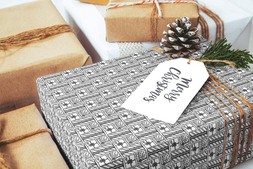"Scandinavian gift box black & white Wrapping Paper 29x20"" 5 sheets, Holiday Gift Wrap Paper, gift wrap, illustrated holiday gift wrap - LovaluDesign"