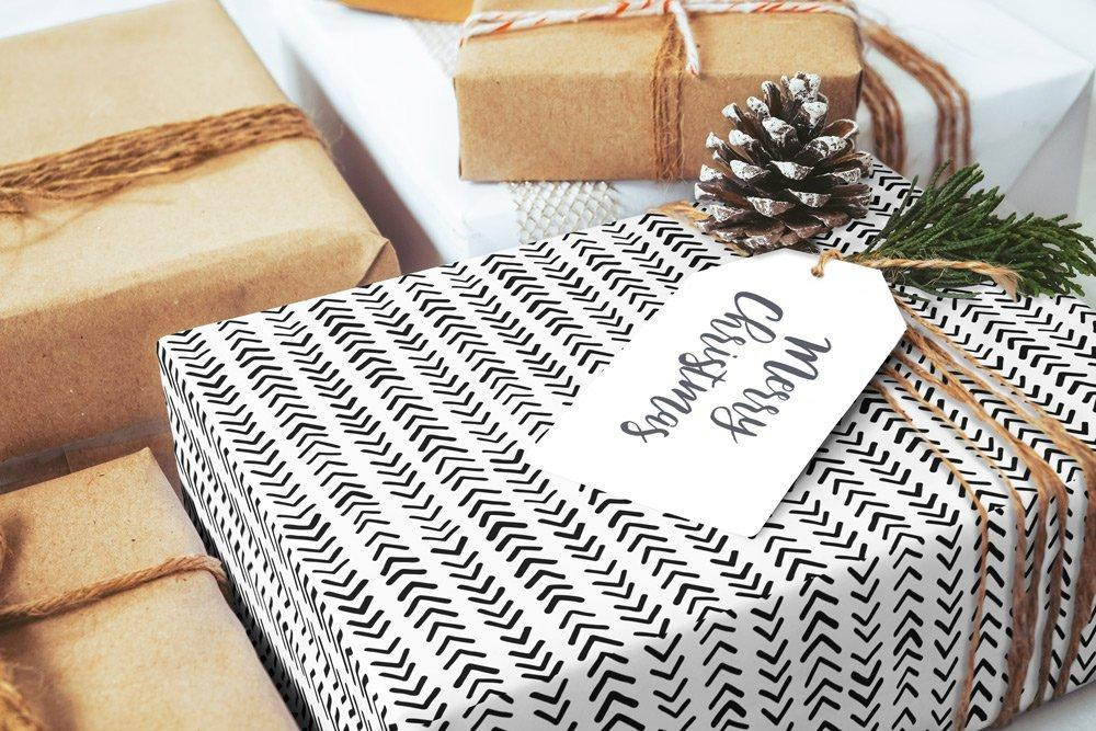 "Scandinavian Heart black & white Wrapping Paper 29x20"" 5 sheets, Holiday Gift Wrap Paper, luxury gift wrap, illustrated holiday gift wrap - LovaluDesign"