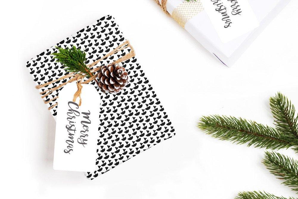 "Scandinavian little boat black & white Wrapping Paper 29x20"" 5 sheets, Holiday Gift Wrap Paper, gift wrap, illustrated holiday gift wrap - LovaluDesign"