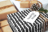 "Scandinavian Skyline black & white Wrapping Paper 29x20"" 5 sheets, Holiday Gift Wrap Paper, luxury gift wrap, illustrated holiday gift wrap - LovaluDesign"