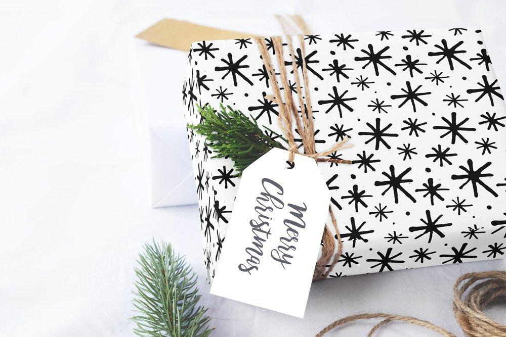 "Scandinavian stars black & white Wrapping Paper 29x20"" 5 sheets, Holiday Gift Wrap Paper, gift wrap, illustrated holiday gift wrap - LovaluDesign"