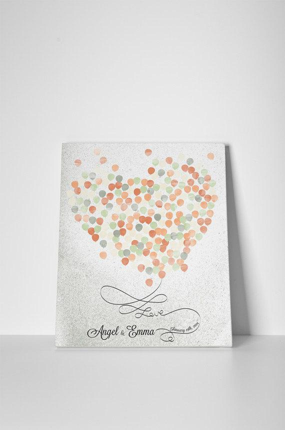 Shabby Wedding Guestbook nuanced yellow orange ballon's heart print on canvas 200 sign. Choose your color and number of ballons - LovaluDesign