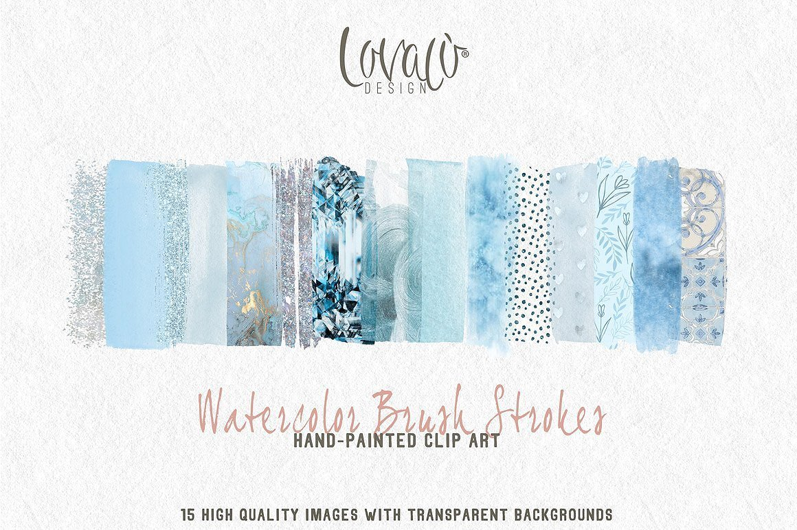 Soft Blue Watercolor brush strokes ClipArt - LovaluDesign