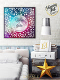 Starry sky wedding guest book alternative with watercolor background. Print on canvas or paper. Customizable. - LovaluDesign