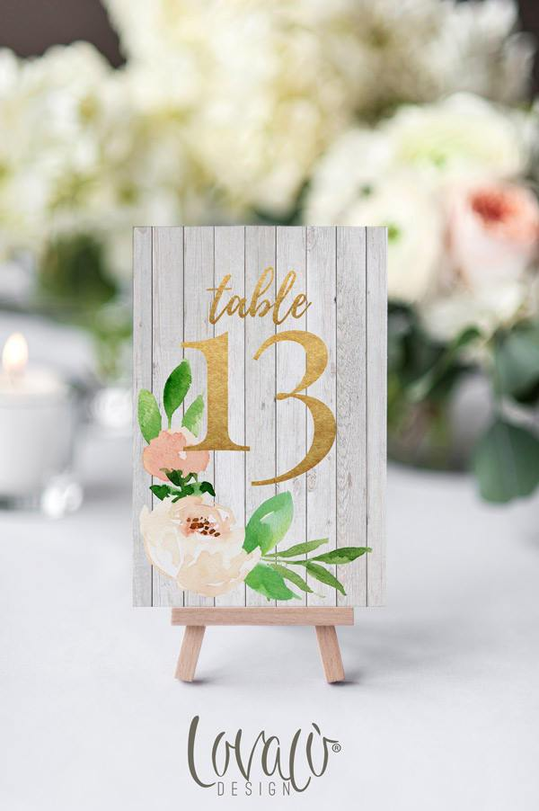 Table numbers printable 1-15, Rustic Printable table numbers, White table numbers template, watercolor ivory cream table sign template - LovaluDesign