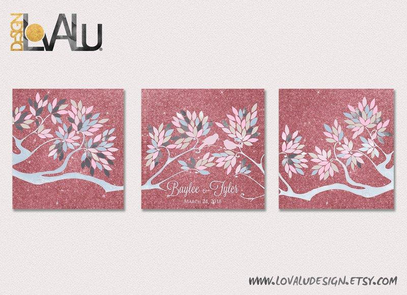 Triptych Wedding Guest book tree on canvas with birds in love rose gold blush pink grey dusty rose glitter wedding keepsakes Custom bridal - LovaluDesign