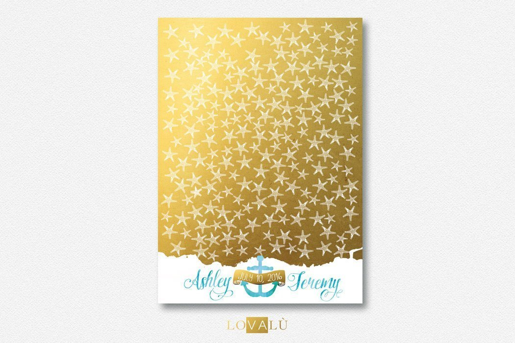 Unique Starfish Wedding guest book. Wedding Guestbook alternative. Guest book Ocean gold and white. Wedding watercolor. - LovaluDesign