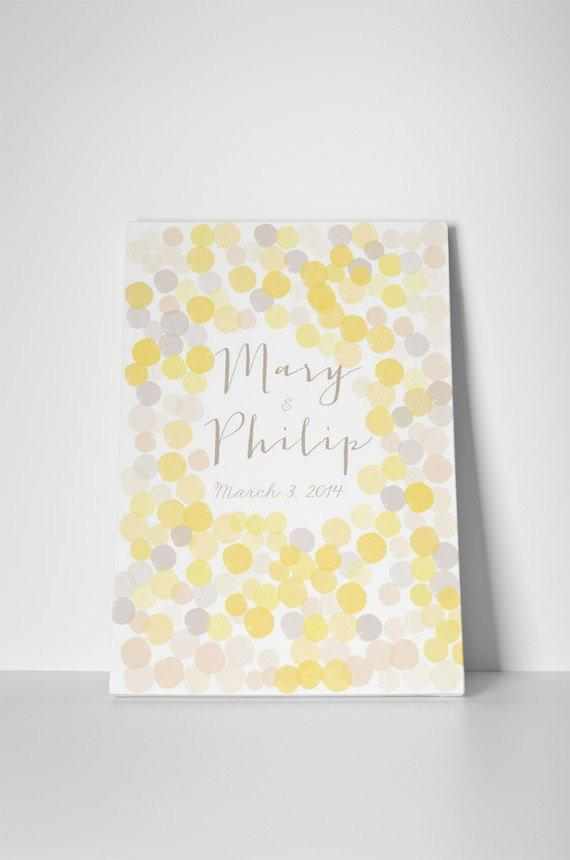 Unique Watercolor Wedding Guestbook Alternative guest book yellow and grey on canvas Customized wedding guestbook Bohemian wedding confetti - LovaluDesign
