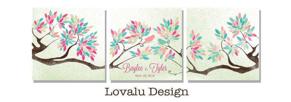 Unique Wedding Guest book tree on canvas 200 sign with birds in love Triptych alternative rustic wedding guestbook pastel Modern wedding - LovaluDesign