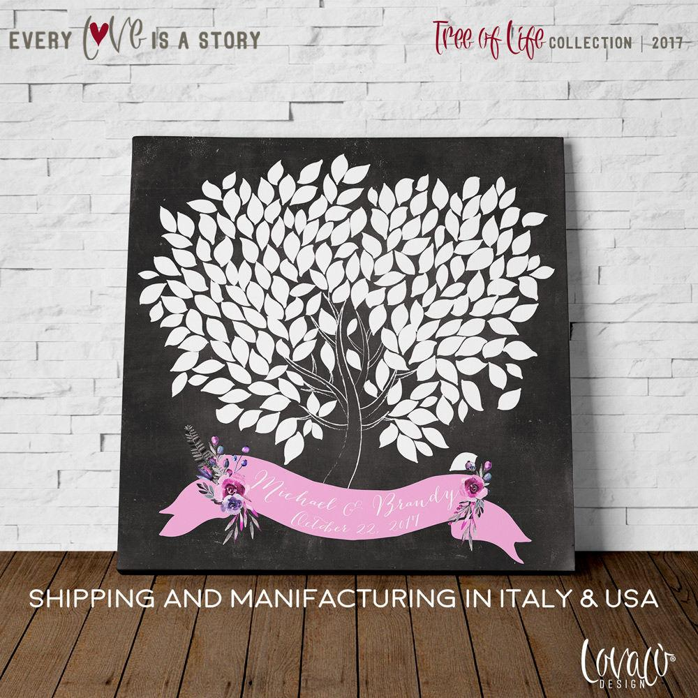 Unique Wedding Guest Book - Wedding Guestbook Tree Chalk board - Wedding Guestbook Alternative - Tree Guestbook Poster - LovaluDesign