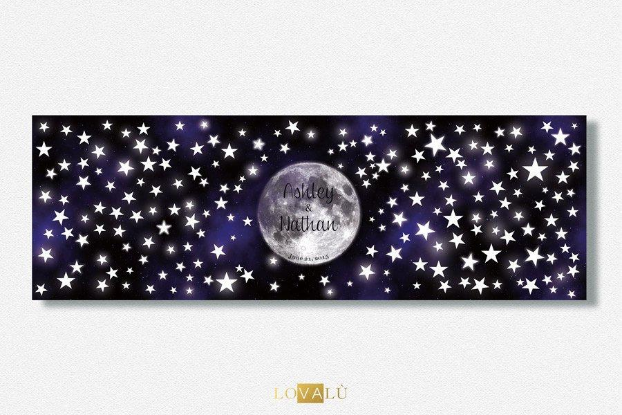Unique Wedding Guestbook alternative Under the moon. In this example 200 signatures. Triptych wedding guest book stars. - LovaluDesign