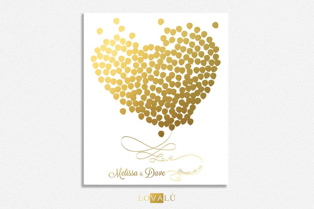 Unique wedding guestbooks, gold balloons guest book, heart guest book ideas, customized names couple - LovaluDesign