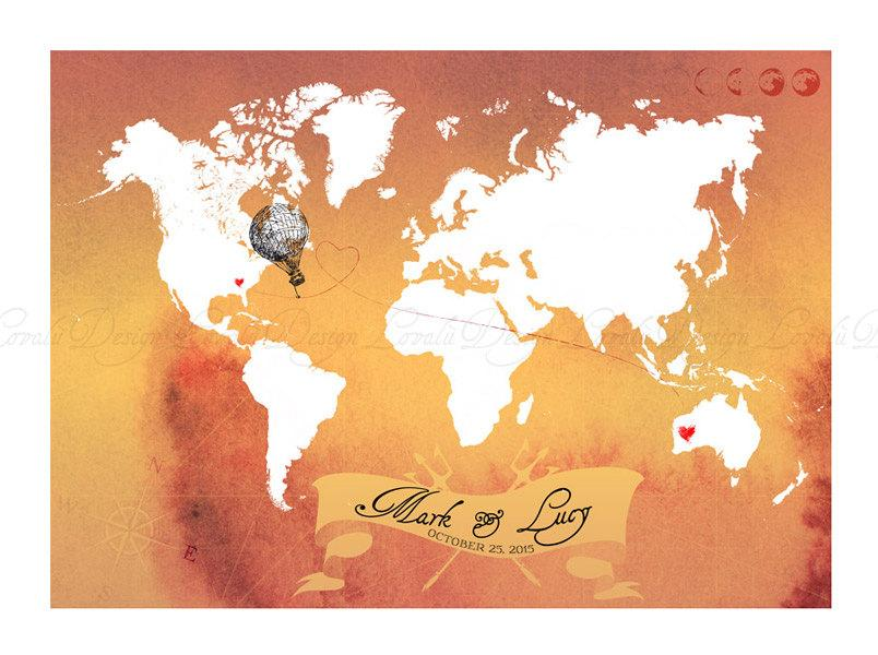Vintage World map alternative guest book. - LovaluDesign