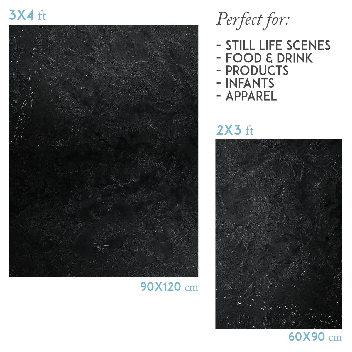 Vinyl photography backdrop black stone - Lov 830 - LovaluDesign