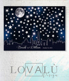 Wedding alternative guestbook skyline Paris. Wedding star guest book. Wedding moon theme. Printable guestbook. Star on the city. - LovaluDesign