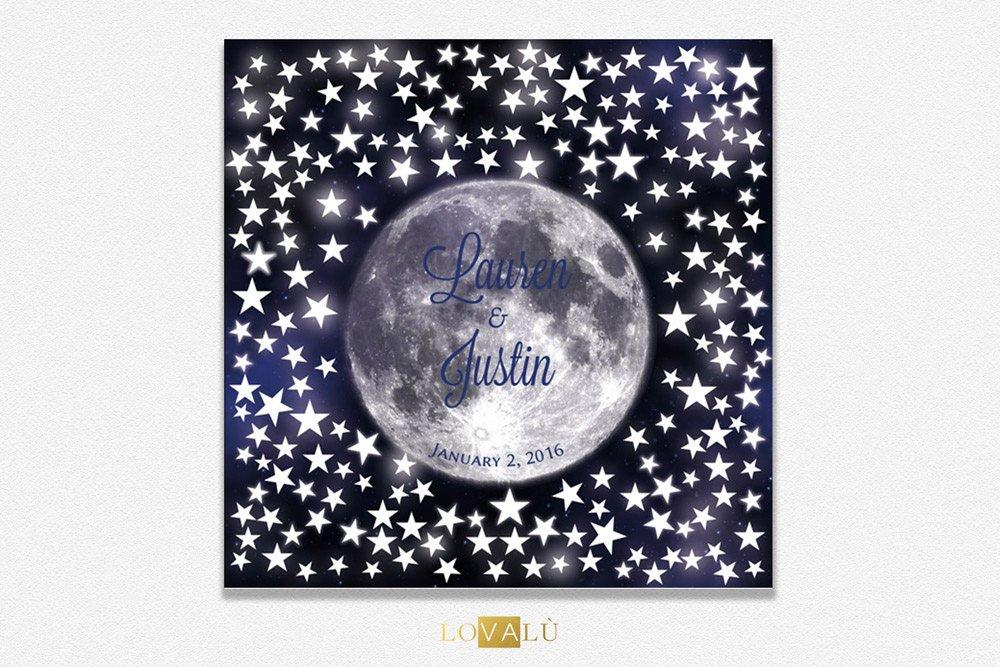 Wedding gift ideas love under the moon, wedding guest book with stars, Alternative Wedding Guest book stars, wedding guest book ideas - LovaluDesign