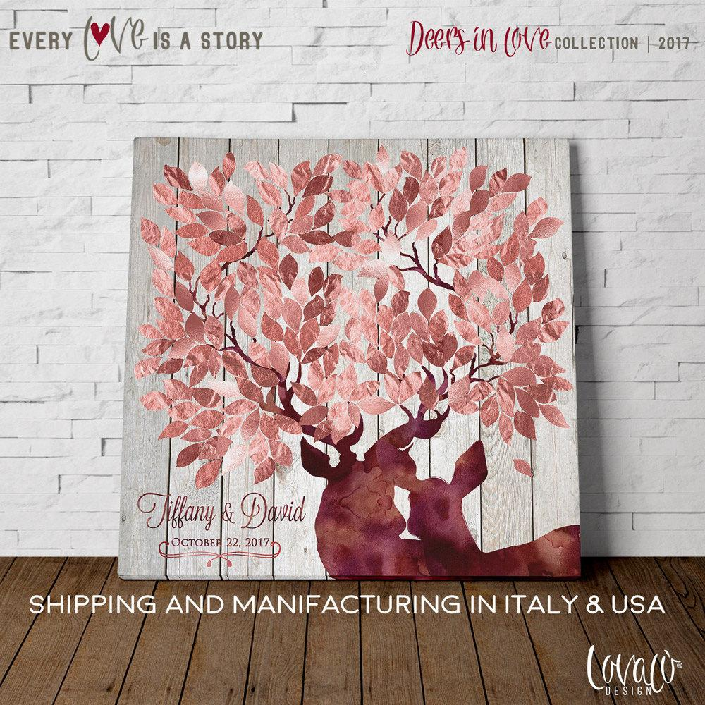 Wedding guest book alternative antler tree rose gold. - LovaluDesign
