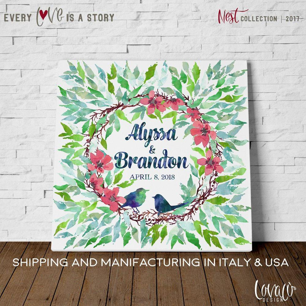 Wedding guest book alternative Nest - Wedding guest book canvas - rustic wedding guest book - love birds wedding - personalized -family tree - LovaluDesign
