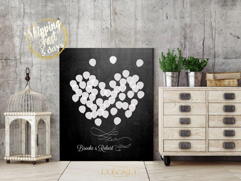 Wedding Guest book alternative on canvas. White Balloons on chalkboard background. 50 guests. - LovaluDesign