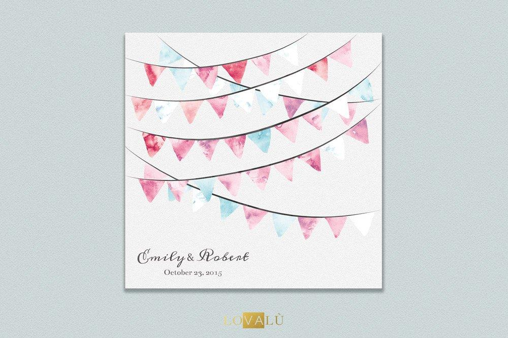 Wedding Guest Book Alternative Pennant Flags - Circus guest book - Retro wedding guestbook 50 Guest Signatures - Modern original Guestbook - LovaluDesign